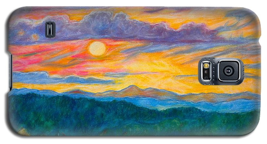 Landscape Galaxy S5 Case featuring the painting Golden Blue Ridge Sunset by Kendall Kessler
