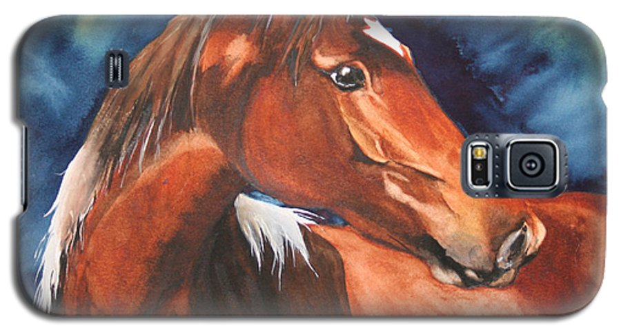 Horse Galaxy S5 Case featuring the painting Golden Boy by Jean Blackmer