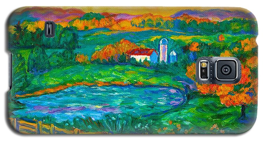 Landscape Galaxy S5 Case featuring the painting Golden Farm Scene Sketch by Kendall Kessler