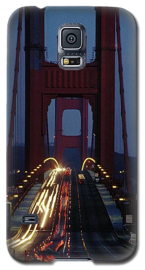 Evening Galaxy S5 Case featuring the photograph Golden Gate Bridge by Carl Purcell