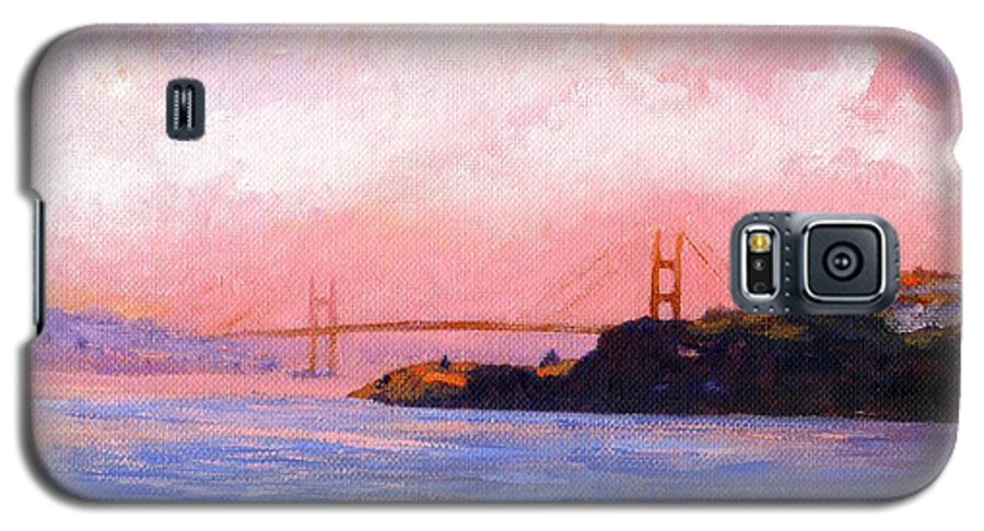 Landscape Galaxy S5 Case featuring the painting Golden Gate Bridge by Frank Wilson
