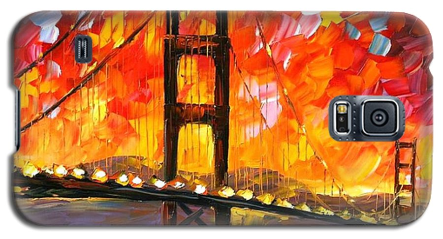 City Galaxy S5 Case featuring the painting Golden Gate Bridge by Leonid Afremov