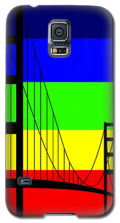 Golden Gate Galaxy S5 Case featuring the digital art Golden Gay by Asbjorn Lonvig