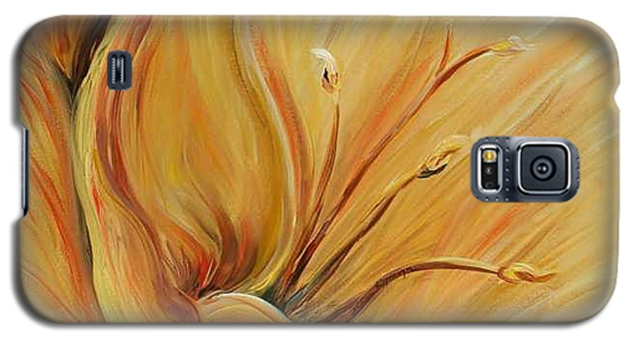 Gold Galaxy S5 Case featuring the painting Golden Glow by Nadine Rippelmeyer
