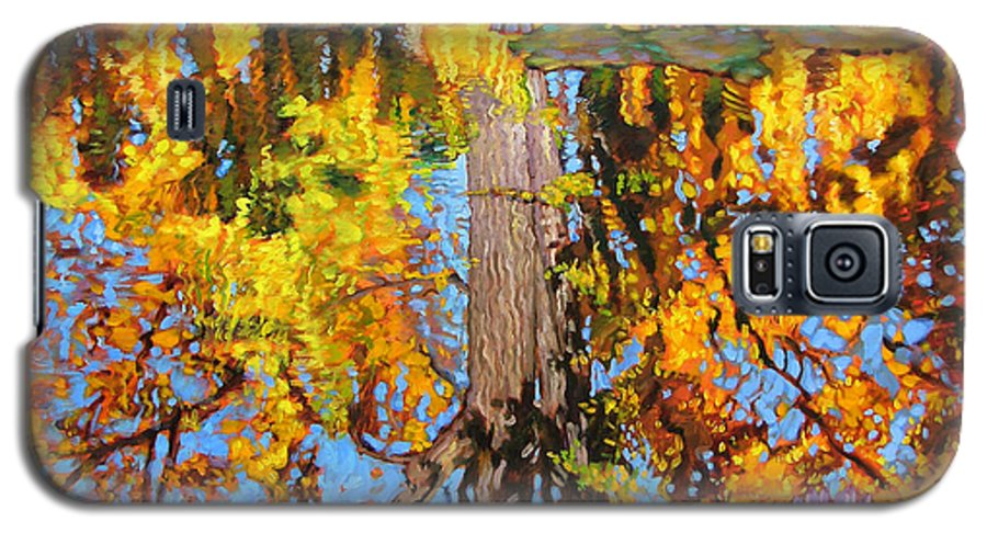 Landscape Galaxy S5 Case featuring the painting Golden Reflections On Lily Pond by John Lautermilch