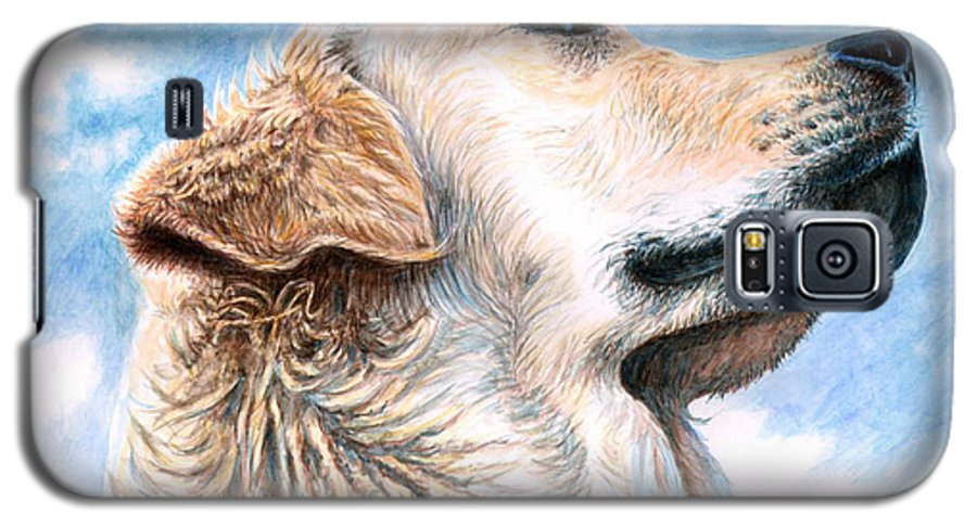 Dog Galaxy S5 Case featuring the painting Golden Retriever by Nicole Zeug
