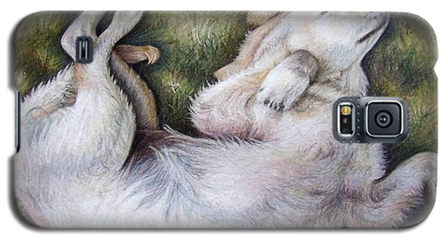 Dog Galaxy S5 Case featuring the pastel Golden Retriever Puppy by Nicole Zeug