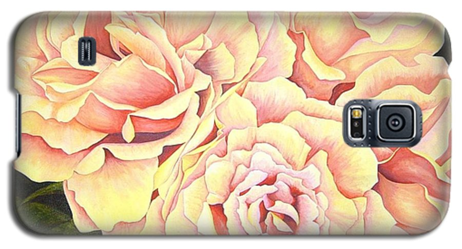 Roses Galaxy S5 Case featuring the painting Golden Roses by Rowena Finn