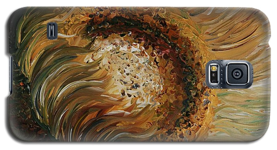 Sunflower Galaxy S5 Case featuring the painting Golden Sunflower by Nadine Rippelmeyer