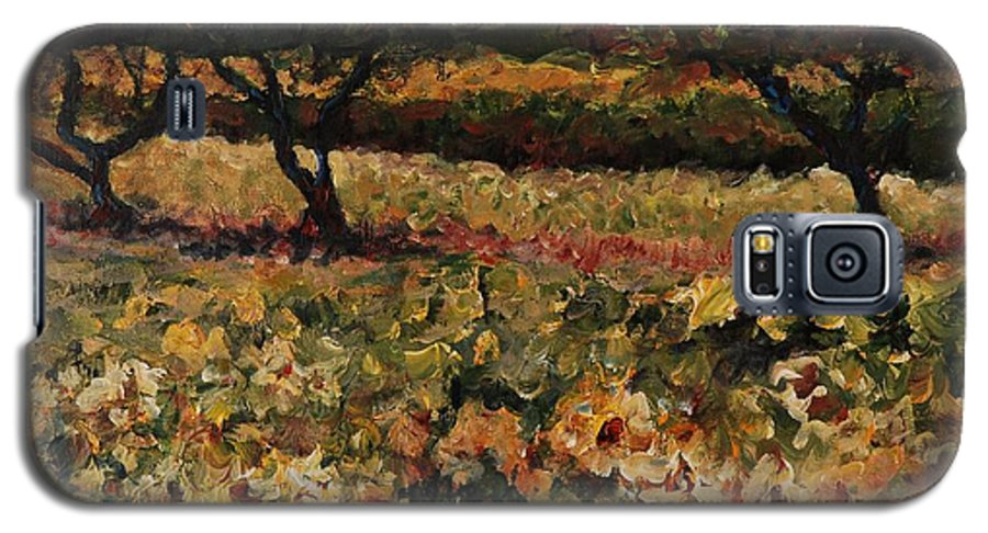 Landscape Galaxy S5 Case featuring the painting Golden Sunflowers by Nadine Rippelmeyer