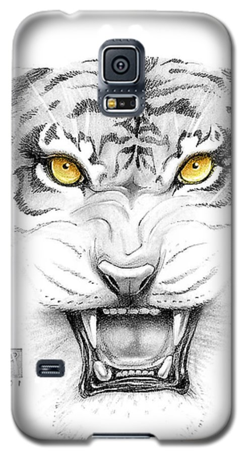 Amber Galaxy S5 Case featuring the digital art Golden Tiger Eyes by Melissa A Benson