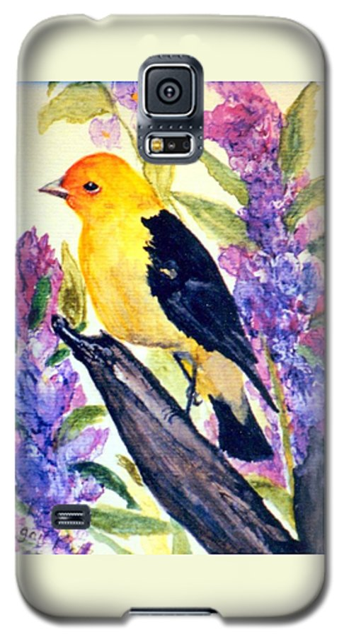Birds Galaxy S5 Case featuring the painting Goldfinch by Gail Kirtz