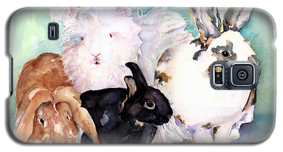 Animal Artwork Galaxy S5 Case featuring the painting Good Hare Day by Pat Saunders-White