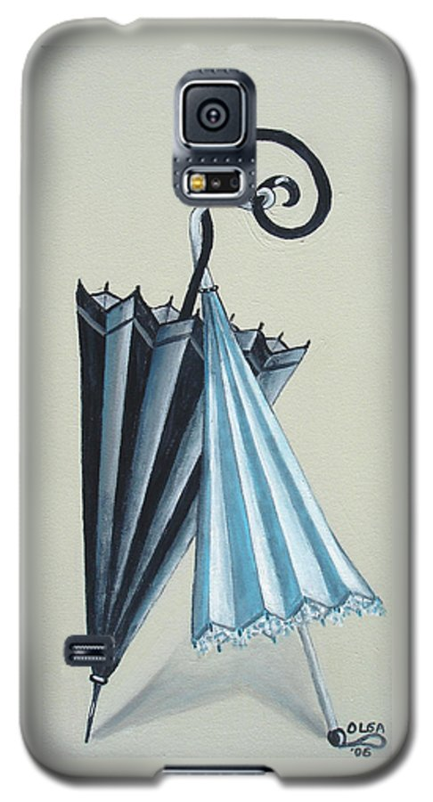 Umbrellas Galaxy S5 Case featuring the painting Goog Morning by Olga Alexeeva