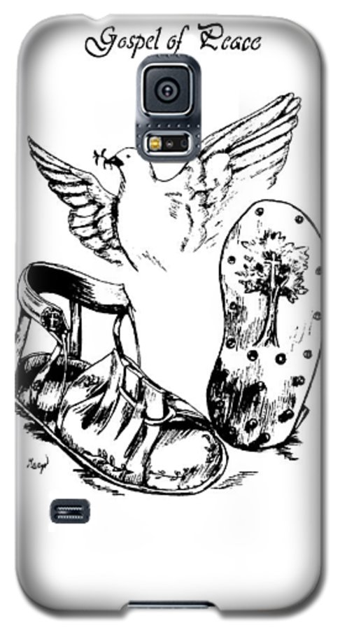 Armor Galaxy S5 Case featuring the drawing Gospel Of Peace by Maryn Crawford