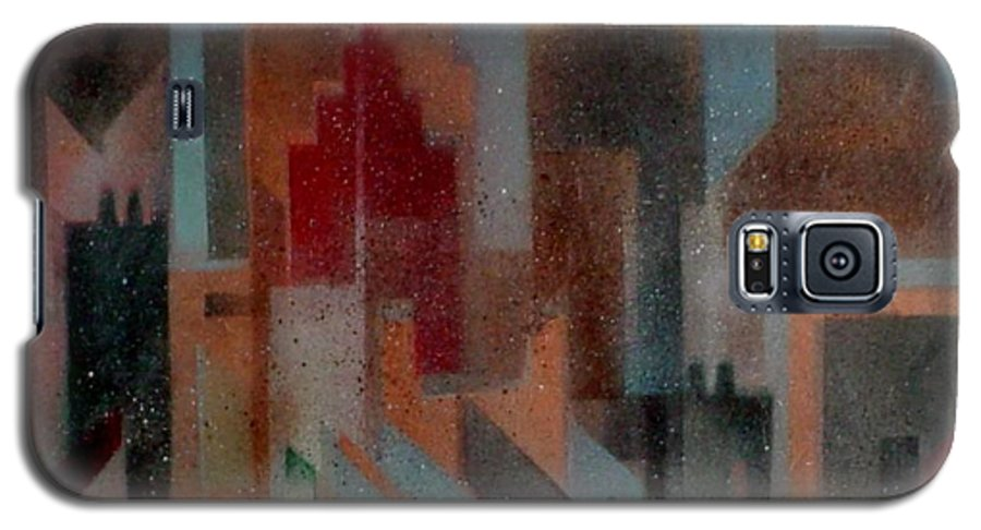 Abstract Galaxy S5 Case featuring the painting Gothem City by Anita Burgermeister