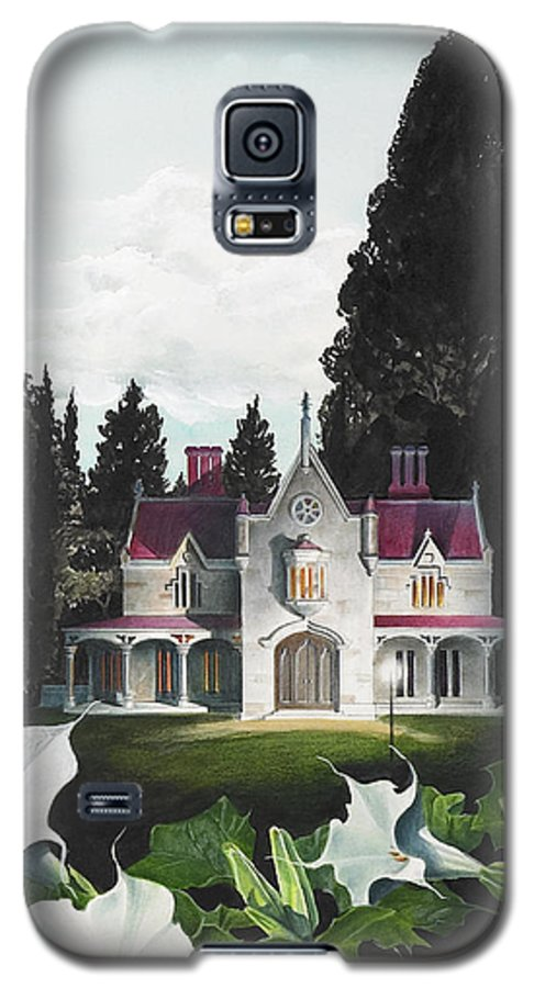 Fantasy Galaxy S5 Case featuring the painting Gothic Country House Detail From Night Bridge by Melissa A Benson