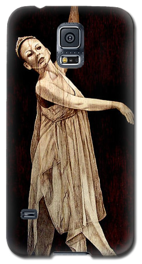 Pyrography; Woodburning; Ballerina; Light; Portrait; Shoe; Stage; Dress; Crown; Tiara; Dance; Galaxy S5 Case featuring the pyrography Grace Touching Light by Jo Schwartz