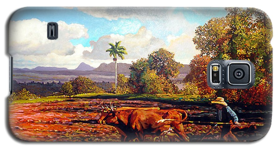 Cuban Art Galaxy S5 Case featuring the painting Grandfather Farm by Jose Manuel Abraham