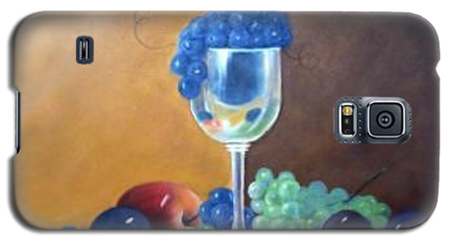 Wine Galsses With Grapes Galaxy S5 Case featuring the painting Grapes And Plums by Susan Dehlinger