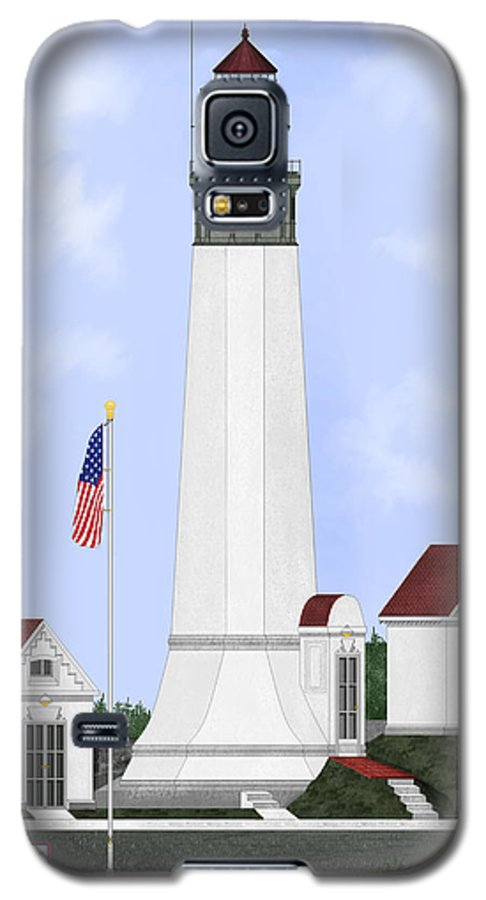 Lighthouse Galaxy S5 Case featuring the painting Grays Harbor Light Station Historic View by Anne Norskog