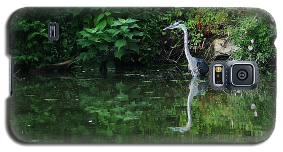 Lanscape Water Bird Crane Heron Blue Green Flowers Great Photograph Galaxy S5 Case featuring the photograph Great Blue Heron Hunting Fish by Dawn Downour