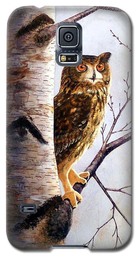 Great Horned Owl In Birch Galaxy S5 Case featuring the painting Great Horned Owl In Birch by Frank Wilson