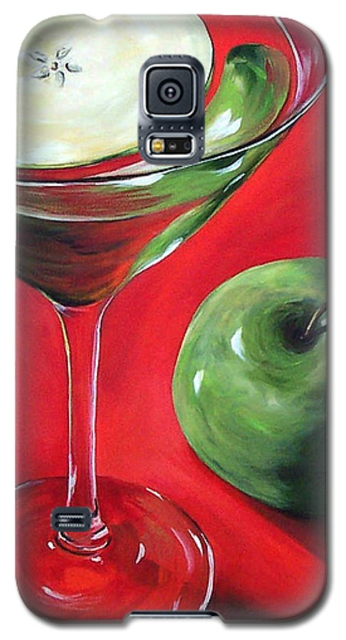 Martini Galaxy S5 Case featuring the painting Green Apple Martini by Torrie Smiley