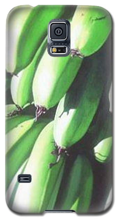Hyperrealism Galaxy S5 Case featuring the painting Green Bananas I by Michael Earney