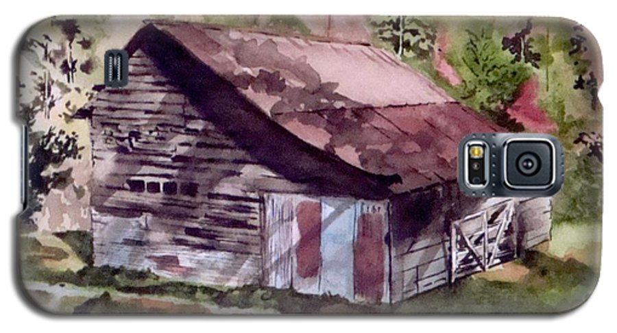 Barns Galaxy S5 Case featuring the painting Green Creek Barn by Jean Blackmer