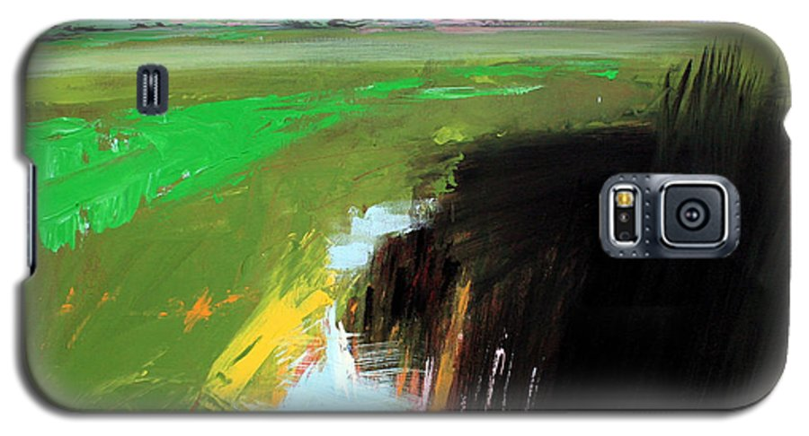 Abstract Landscape Galaxy S5 Case featuring the painting Green Field by Mario Zampedroni