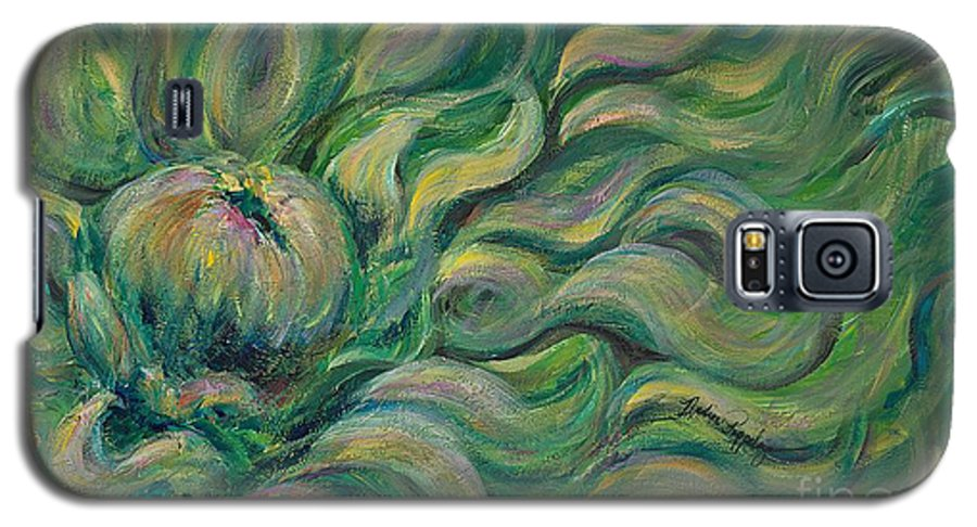Green Galaxy S5 Case featuring the painting Green Flowing Flower by Nadine Rippelmeyer