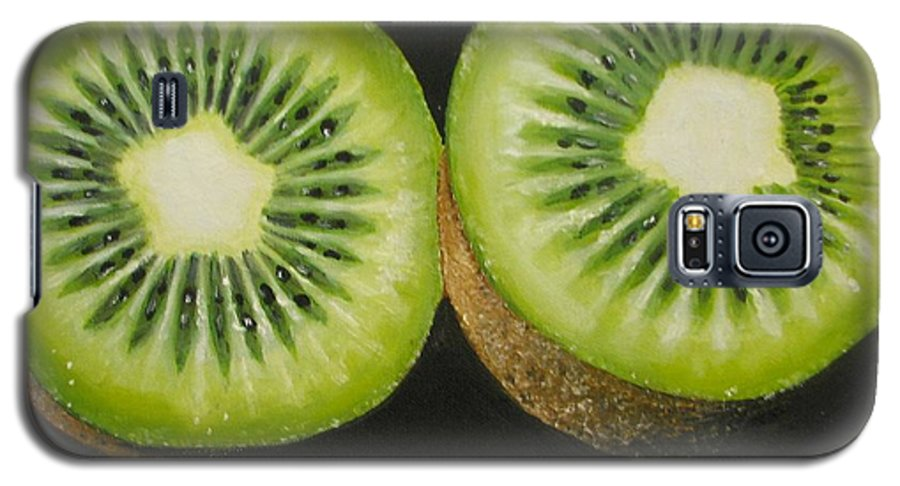 Kiwi Galaxy S5 Case featuring the painting Green Kiwi Oil Painting by Natalja Picugina