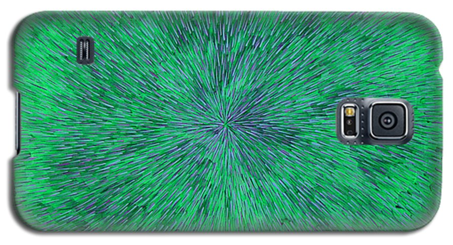 Abstract Galaxy S5 Case featuring the painting Green Radation With Violet by Dean Triolo