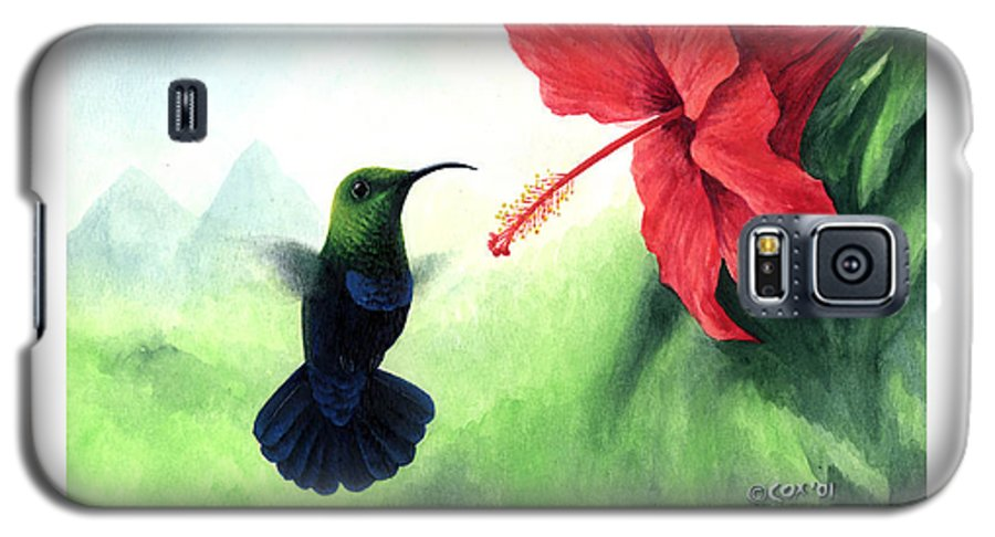 Chris Cox Galaxy S5 Case featuring the painting Green-throated Carib Hummingbird And Red Hibiscus by Christopher Cox