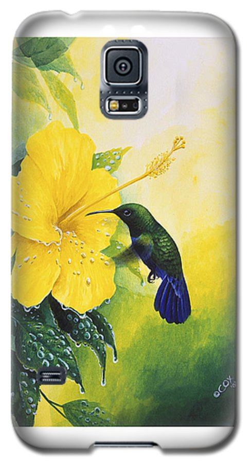 Chris Cox Galaxy S5 Case featuring the painting Green-throated Carib Hummingbird And Yellow Hibiscus by Christopher Cox