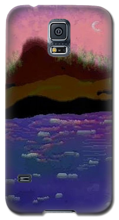 Sky.moon. Rose Sun Reflection.mount.forest. Island.sea.little Icebergs.deep Water Galaxy S5 Case featuring the digital art Greenland.summer by Dr Loifer Vladimir