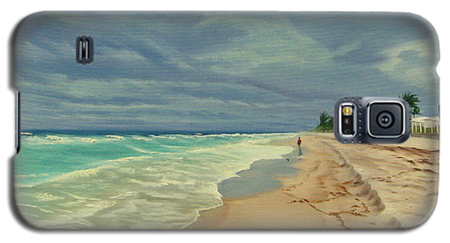 Beach Galaxy S5 Case featuring the painting Grey Day On The Beach by Lea Novak