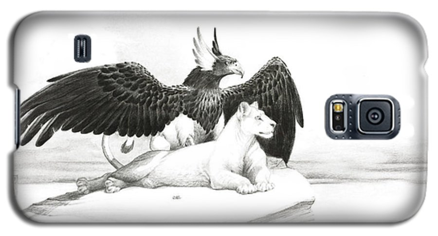 Griffin Galaxy S5 Case featuring the painting Griffin And Lioness by Melissa A Benson