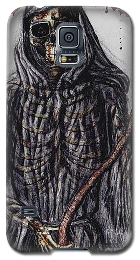 Grim Reaper Galaxy S5 Case featuring the drawing Grim Reaper Colored by Katie Alfonsi