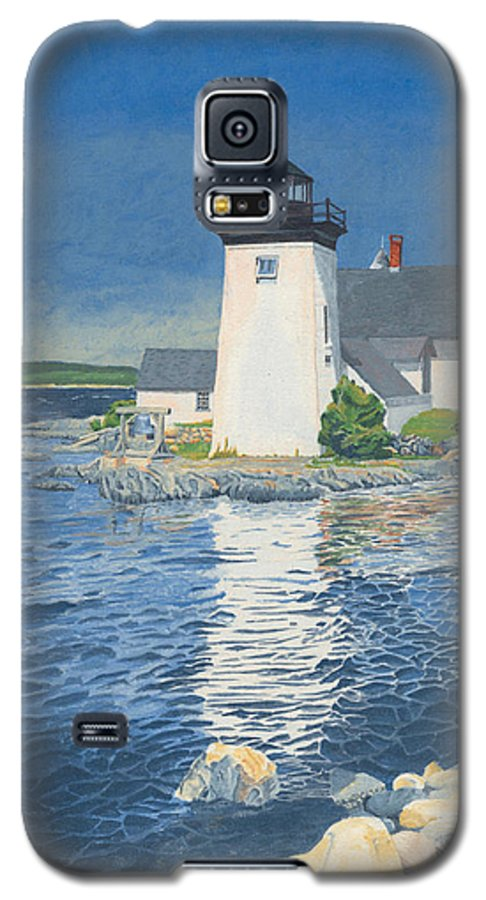 Lighthouse Galaxy S5 Case featuring the painting Grindle Point Light by Dominic White
