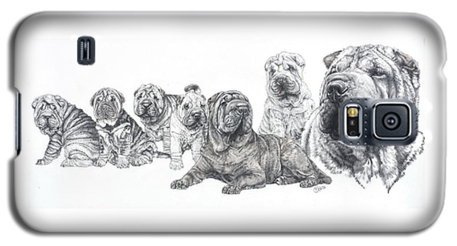 Non-sporting Group Galaxy S5 Case featuring the drawing Growing Up Chinese Shar-pei by Barbara Keith