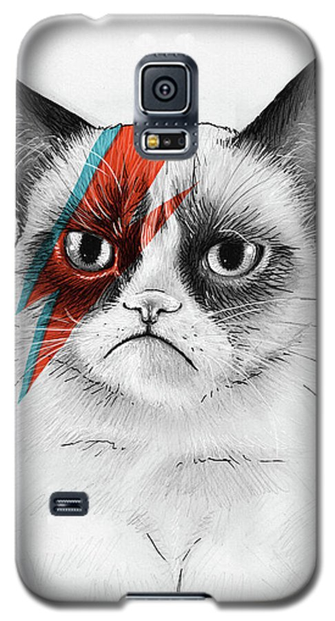 Grumpy Cat Galaxy S5 Case featuring the drawing Grumpy Cat As David Bowie by Olga Shvartsur