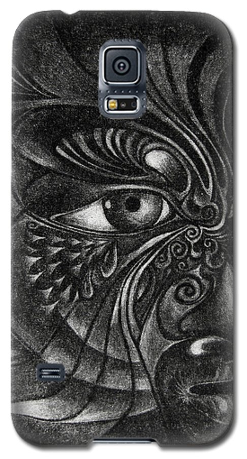 Mezzotint Galaxy S5 Case featuring the drawing Guardian Cherub by Otto Rapp