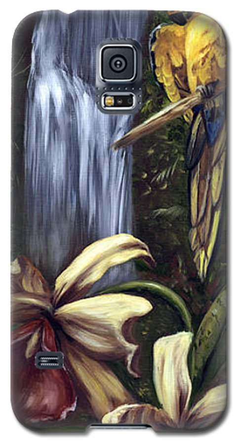 Birds Galaxy S5 Case featuring the painting Guardian Of The Falls by Anne Kushnick