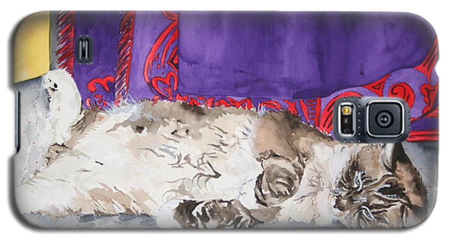 Cat Galaxy S5 Case featuring the painting Guilley by Jean Blackmer