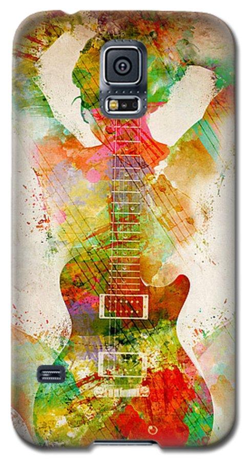 Guitar Galaxy S5 Case featuring the digital art Guitar Siren by Nikki Smith