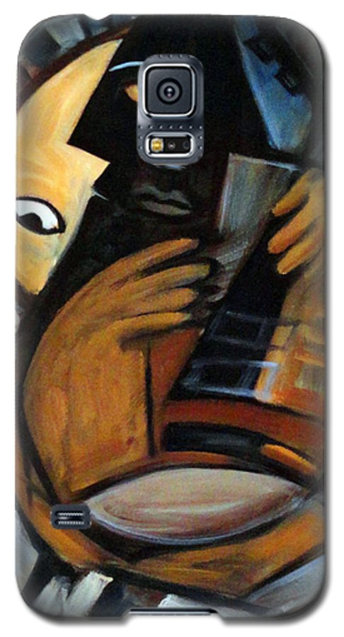 Cubism Galaxy S5 Case featuring the painting Guitarist by Valerie Vescovi