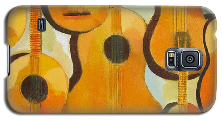 Abstract Galaxy S5 Case featuring the painting Guitars by Habib Ayat