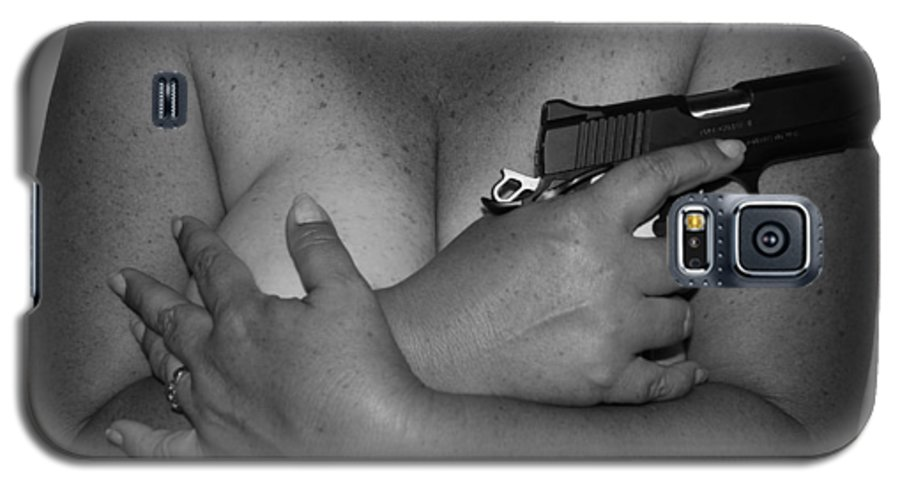 Black And White Galaxy S5 Case featuring the photograph Guns And Ammo by Rob Hans